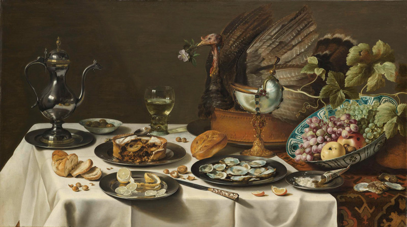 Pieter-Claesz-Still-Life-with-Turkey-Pie